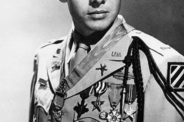 Sgt. Audie Murphy was one of the Army's most decorated Soldiers. The former enlisted infantryman overcame many obstacles on World War II battlefields to earn several awards including the Medal of Honor. He is also known as a movie star, singer and veteran's advocate. Murphy died on Memorial Day, 1971. He was 45 years old.