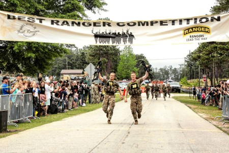 Capt. John Bergman and Capt. Michael Rose with 101st Airborne Division (Air Assault), win the 2019 Best Ranger Competition at Fort Benning, Ga. After two full days and nights of events to test stamina, technical prowess and mental acuity, 16 teams crossed the finish line, April 14, 2019.