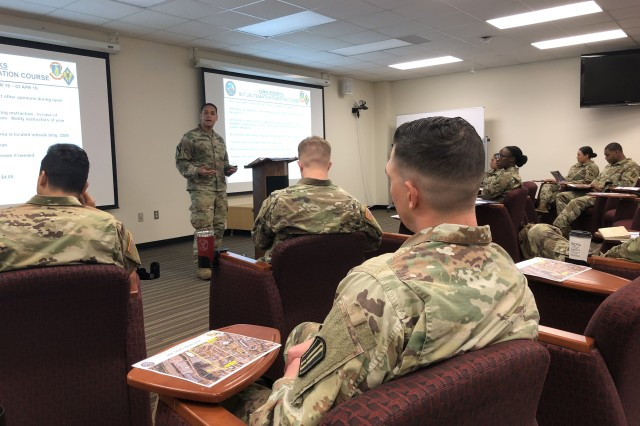 Capt. Jose Elizabeth, project manager for the new Basic Combat Training Platoon Leader Integration Course, introduces the first round of lieutenants becoming BCT Platoon Leaders to their new assignment April 2.
