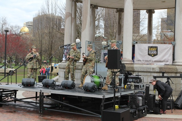 Army Field Band's Six-String Soldiers Folk-Bluegrass Band performs at the Army Expo on Boston Common Apr. 13 to 'introduce Boston to the Army they haven't met yet.'
