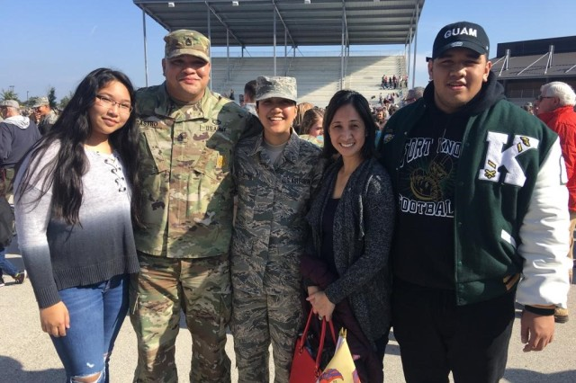 """We are family""- Graduation day at Lackland Air Force Base, San Antonio, Texas, December 2018. (L-R) Veronica, Sgt. 1st Class Clint Castro, Airman Victoria Castro, Vanessa and Christian. (Photo courtesy retired Army Sgt. 1st Class Clint Castro)"