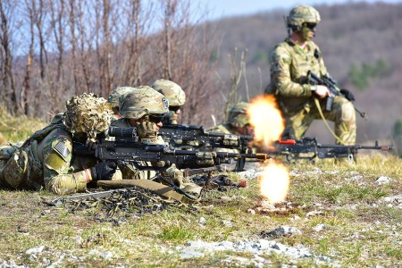 Paratroopers assigned to 173rd Airborne Brigade, engage targets during a blank-fire exercise as part Eagle Sokol at Pocek Range in Slovenia, Mar. 25, 2019. Exercise Eagle Sokol is a bilateral training exercise with the Slovenian Armed Forces focused on the rapid deployment and assembly of forces and team cohesion with weapon systems tactics and procedures.