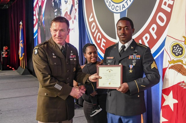 General James McConville, Vice Chief of Staff of the United States Army presents The Silver Star to Sgt. Emmanuel Bynum during a ceremony at the Army Aviation Association of America Summit 2019 in Nashville, Tennessee April 16, 2019. Bynum, who is assigned to Company C, 6th Battalion, 101st Combat Aviation Brigade, 101st Airborne Division (Air Assault), earned The Silver Star for heroic actions in support of U.S. Army forces in Afghanistan July 12, 2018. The AAAA summit is an event during which the entire Army Aviation community gathers to focus solely on Army Aviation.