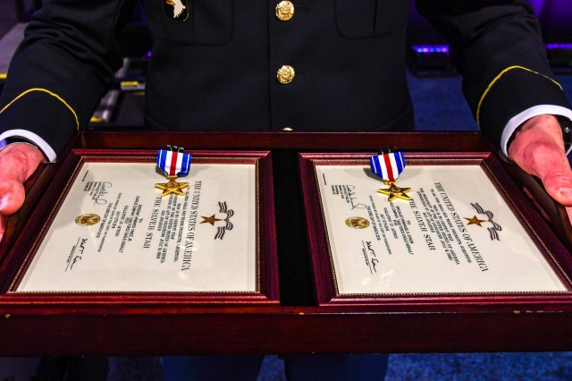 The Silver Star Medal is awarded primarily to members of the United States Armed Forces for gallantry in action against an enemy of the United States. Two Soldiers from Company C, 6th Battalion, 101st Combat Aviation Brigade, 101st Airborne Division (Air Assault) received The Silver Star during a ceremony held at the Army Aviation Association of America Summit 2019 in Nashville, Tennessee April 16, 2019.