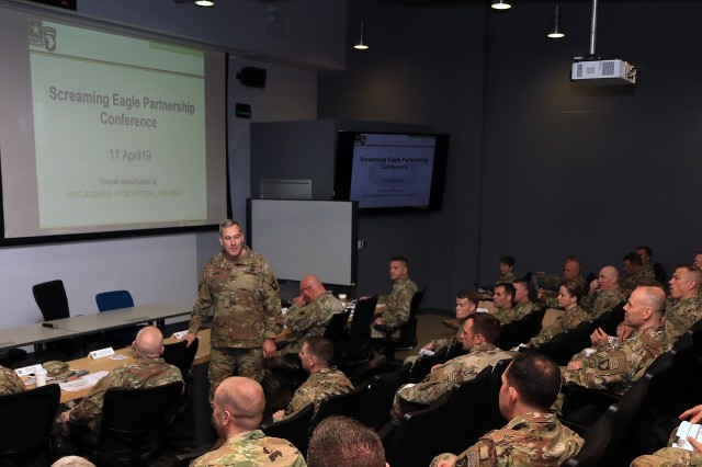 Maj. Gen. Brian Winski, 101st Airborne Division (Air Assault) commander, provides remarks during the Screaming Eagle Partnership Conference, Apr. 11 at Fort Campbell, Ky. The SEPC brought together the 101st Abn. Div. and Army National Guard and Reserve leaders from nine states to share resources and requirements, and plan mutual training over the coming years.