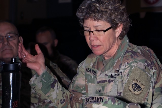 Brig. Gen. Joane Mathews, Wisconsin's deputy adjutant general for Army, provides remarks during the Screaming Eagle Partnership Conference, Apr. 11 at Fort Campbell, Ky. The SEPC brought together the 101st Abn. Div. and Army National Guard and Reserve leaders from nine states to share resources and requirements, and plan mutual training over the coming years.