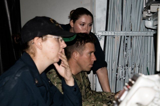 Sailors aboard the Arleigh Burke-class guided-missile destroyer USS Wayne E. Meyer (DDG-108) participate in a simulated joint call for fire mission with Soldiers from the 25th Infantry Division as part of Exercise Lightning Strike 19 at Joint Base Pearl Harbor-Hickam, Hawaii on April 12, 2019.