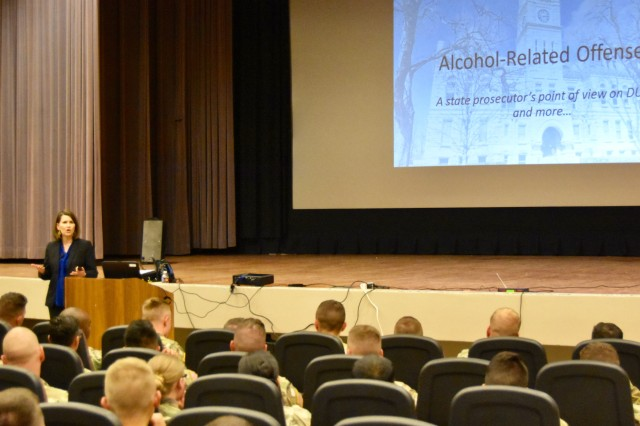 Kendra Lewison, Riley County Assistant County Attorney, speaks to 2nd Armored Brigade Combat Team Soldiers, 1st Infantry Division, on alcohol-related offenses from an attorney's point-of-view on April 15 at the Barlow Theater.