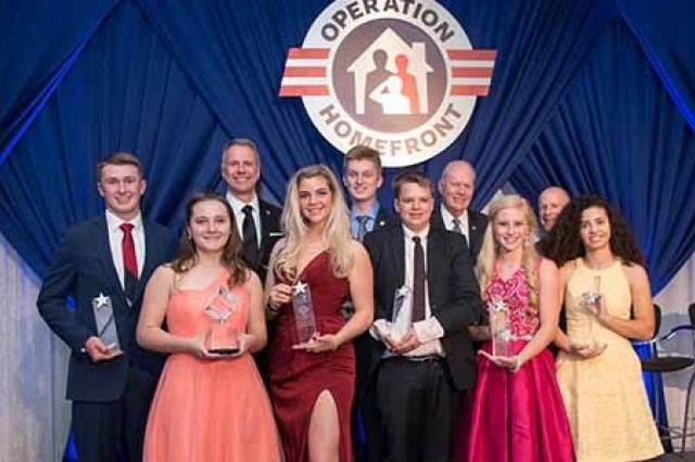 Awardees pose for a photo at Operation Homefront's Military Child of the Year Award Gala in 2018.