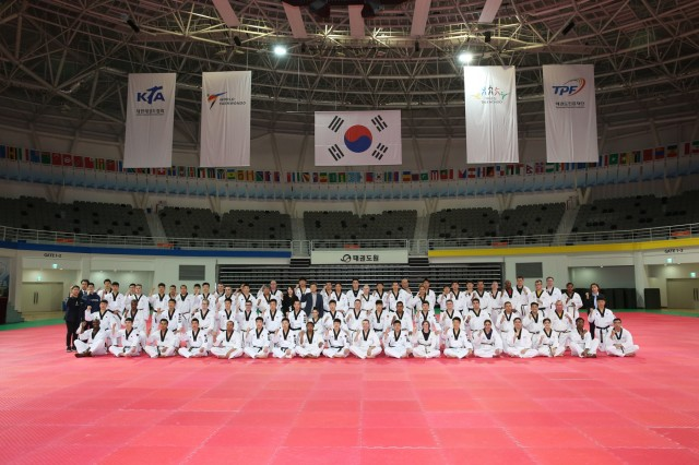 The Republic of Korea (ROK), Ministry of National Defense hosted a Taekwondo Camp for U.S. Forces Korea (USFK) personnel and the ROK Army Taekwondo team at Taekwondowon, Muju, South Korea, April 9-11. (Photo by Jang, Hyung Kwon)