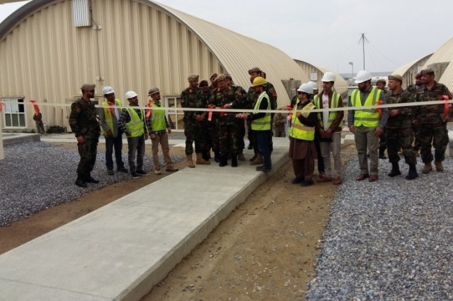 Ribbon Cutting ceremony April 14 2019 of the National Mission Brigade Barracks and Latrine Shower and Shave Camp Scorpion project in Afghanistan.