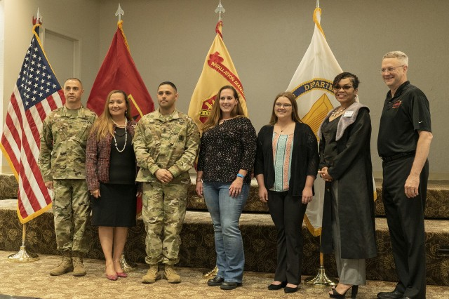 Command Sgt. Maj. John Foley and his wife, Ella, along with Joe Gallagher, Fires Center of Excellence and Fort Sill CSM and vice commander respectively, flank the four volunteers of the year. Winners and categories were: 1st Sgt. Justin Vance, active duty/ DA civilian; Sarah Martin, active duty spouse, and Haylee Stanley, youth. William Mullikan was unable to attend the ceremony.