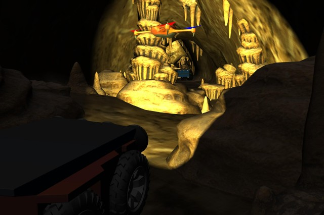 Simulation allows developers to quickly experiment with how mixed teams of ground and aerial platforms can coordinate to explore dark, cluttered environments with degraded communications, such as this virtual cave.