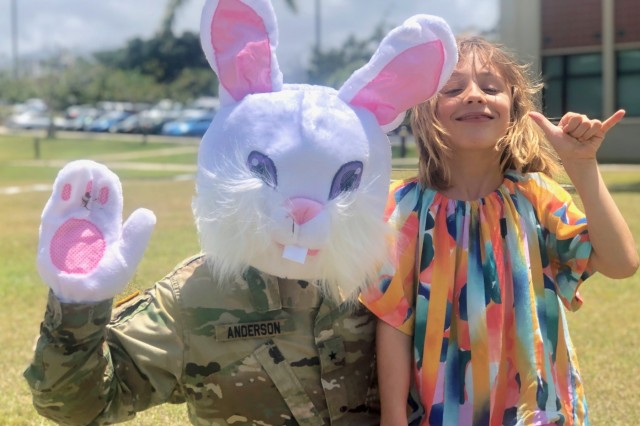 Children of all ages gathered for a picture with Brig. Gen. Douglas F. Anderson, the 9th MSC commanding general, who donned an Easter Bunny head in observation of the Month of the Military Child on April 13 at the Field of Heroes in Fort Shafter Flats, Hawaii. The Month of the Military Child recognizes and honors the commitment and sacrifices military children make to our nation through the strength they provide our Soldiers and families.