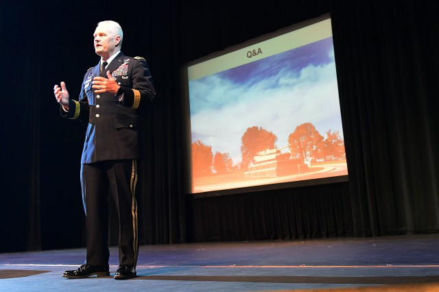 Maj. Gen. John Evans Jr., commanding general of U.S. Army Cadet Command and Fort Knox, speaks to a crowd of about 75 local area residents at a town hall in the Hardin County Schools Performing Arts Center April 17, 2019. Evans provided a short overview of Fort Knox before opening the floor to questions.