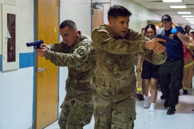 Military and civilian law enforcement teamed up with fire and EMS to learn how to save more lives following an active-shooter event at Rescue Task Force training hosted by DES