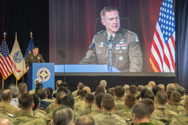 Army Vice Chief of Staff Gen. James C. McConville speaks at a conference hosted by the Army Aviation Association of America, or Quad A, in Nashville, April 16, 2019. With near-peer competitors advancing their anti-access and area-denial capabilities, McConville said that the Army must find innovative ways to penetrate through enemy defenses.