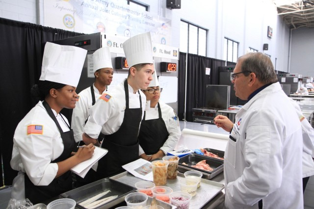 Members of the Fort Campbell Culinary Arts Team listen to critiques from an American Culinary Federation judge March 13 during the Joint Culinary Training Exercise's student team competition at Maclaughlin Fitness Center, Fort Lee, Va. The 44th annual JCTE, administered by the Joint Culinary Center of Excellence, began March 9, and ended March 14. The exercise is the largest American Culinary Federation-sanctioned competition in North America and showcases the talents of more than 200 military chefs from around the world. (U.S. Army photo by Pfc. Lynnwood Thomas, 40th Public Affairs Detachment)