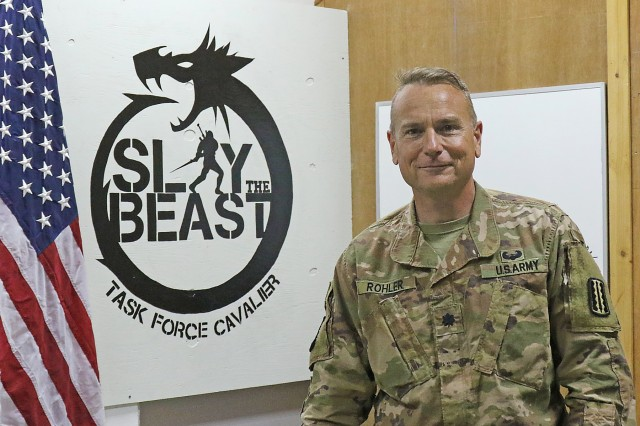 Lt. Col. Dennis Rohler, 529th Support Battalion commander, at Camp Taji, Iraq, March 9, 2019.