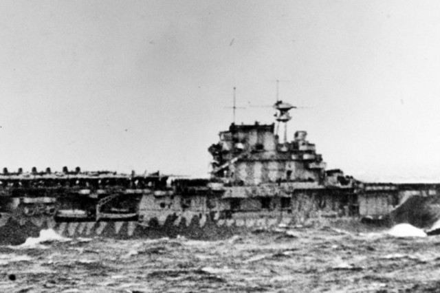 The USS Hornet, a U.S. Navy vessel, launches Doolittle's force at the start of the first U.S. air raid on the Japenese home lands. On 18 April 1942, Airmen of the U.S. Army Air Corps, led by Lt. Col. James H. (Jimmy) Doolittle, carried the Battle of the Pacific to the heart of the Japanese empire with a surprising and daring raid on military targets at Tokyo, Yokohama, Yokosuka, Nagoya, and Kobe. This heroic attack against these major cities was the result of coordination between the U.S. Army Air Corps and the U.S. Navy, which carried the 16 North American B-25 medium bombers aboard the carrier USS Hornet to within take-off distance of the Japanese Islands.