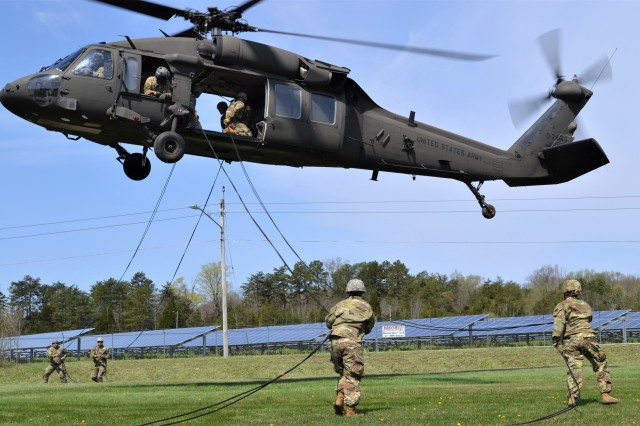 Army Reserve Soldiers conduct air assault rappelling operations as part of the 2019 Combined Best Warrior Competition held at Fort Knox, Kentucky, April 7-12. The 80th Training Command, 84th Training Command, 377th Theater Sustainment Command, 88th Readiness Division, 81st Readiness Division, 99th Readiness Division, Army Reserve Aviation Command, and AR Careers Division joined their resources in creating this year's competition.
