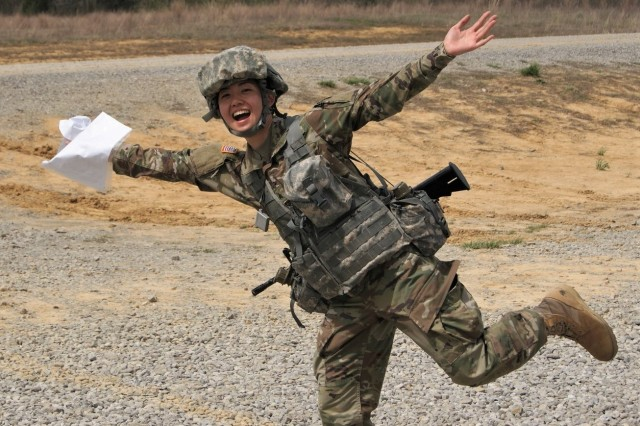 Army Reserve Soldier Sgt. Christine Won, of the 99th Readiness Division, is excited to complete the day land navigation course as part of the 2019 Combined Best Warrior Competition held at Fort Knox, Kentucky, April 7-12. The 80th Training Command, 84th Training Command, 377th Theater Sustainment Command, 88th Readiness Division, 81st Readiness Division, 99th Readiness Division, Army Reserve Aviation Command, and AR Careers Division joined their resources in creating this year's competition.