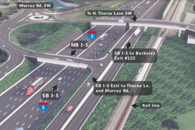 Future Interstate 5 and Thorne Lane interchange rendering.