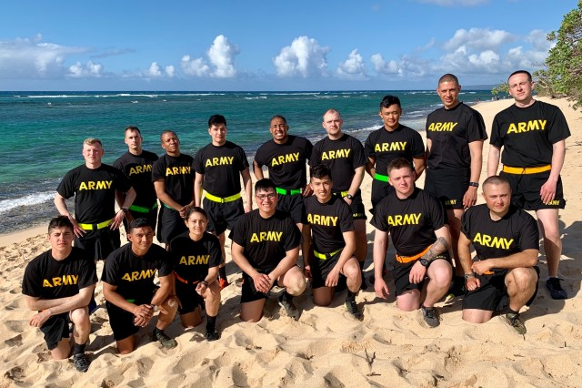Soldiers and NCOs competing in the 2019 RHC-P Best Warrior Competition pose for a group photo after completing all of their events on April 18, 2019.