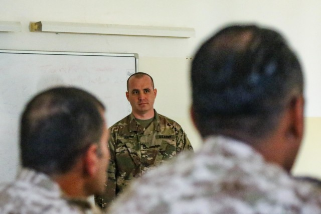 Sgt. First Class Jason Huey, 1st Theater Sustainment Command, instructs a class during the United States Army and Jordan Armed Forces noncommissioned officer subject matter expert exchange in Amman, Jordan, April 6-10, 2019. Topics included the enlisted force structure, promotions, professional military education, performance feedback, evaluation processes, and career development for both armies. The U.S. and Jordan remain committed to a strong bilateral relationship built on common interests and mutual respect.