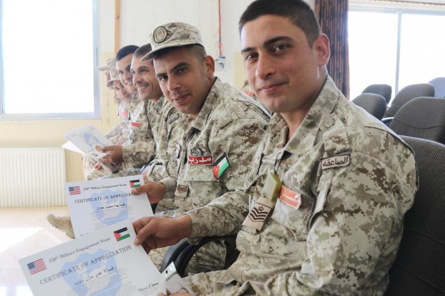 Jordan Armed Forces noncommissioned officers receive certificates after the United States Army and Jordan Armed Forces subject matter expert noncommissioned officer exchange in Amman, Jordan, April 6-10, 2019. Topics included the enlisted force structure, promotions, professional military education, performance feedback, evaluation processes, and career development for both armies. The U.S. and Jordan remain committed to a strong bilateral relationship built on common interests and mutual respect.