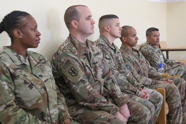 The U.S. Army instructors observe class during a subject matter expert noncommissioned officer exchange with the Jordan Armed Forces in Amman, Jordan, April 6-10, 2019. Topics included the enlisted force structure, promotions, professional military education, performance feedback, evaluation processes, and career development for both armies. The U.S. and Jordan remain committed to a strong bilateral relationship built on common interests and mutual respect.