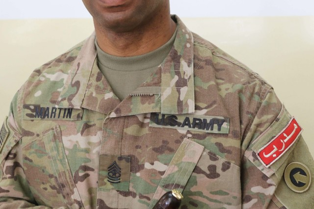 Sgt. Maj. Marvin Martin was presented with a memento at the conclusion of the United States Army and Jordan Armed Forces noncommissioned officer subject matter expert exchange in Amman, Jordan, April 6-10, 2019. Topics included the enlisted force structure, promotions, professional military education, performance feedback, evaluation processes, and career development for both armies. The U.S. and Jordan remain committed to a strong bilateral relationship built on common interests and mutual respect.