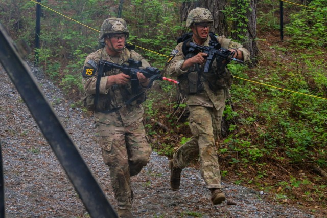 U.S. Army 1st. Lt. Christian Ostrowski, left, and Sgt. 1st Class Josiah Noble, both paratroopers assigned to the 2nd Brigade Combat Team, 82nd Airborne Division, compete in the Best Ranger Competition at Fort Benning, Ga., April 13, 2019. The three-day Best Ranger Competition tests competitors in 31 events spanning a distance of more than 70 miles. This year's competition was themed around World War II battles which U.S. Army Rangers fought, commemorating the 75th anniversary of the D-Day invasion in June.