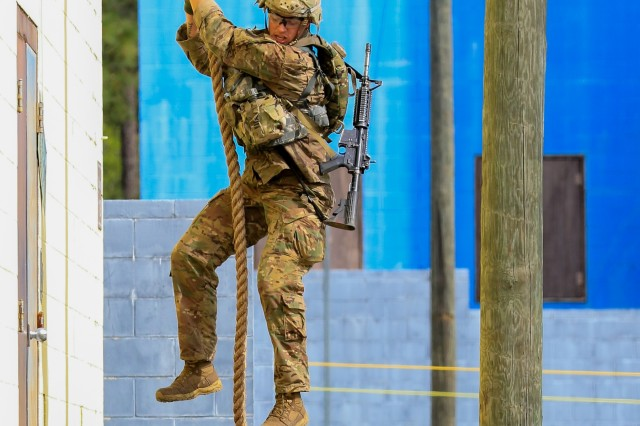 U.S. Army Sgt. 1st Class Josiah Noble, paratrooper assigned to the 2nd Brigade Combat Team, 82nd Airborne Division, competes in the Best Ranger Competition at Fort Benning, Ga., April 12, 2019. The three-day Best Ranger Competition tests competitors in 31 events spanning a distance of more than 70 miles. The David E. Grange Jr. Best Ranger Competition, organized annually by the Airborne and Ranger Training Brigade at Fort Benning, was founded in 1982 and has expanded to include all Ranger-qualified Soldiers throughout the Army and other willing Ranger-qualified service members from sister services.