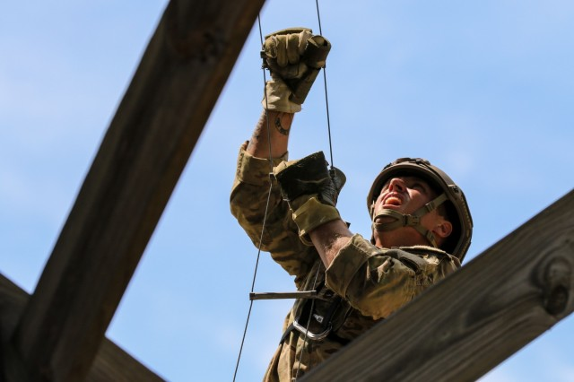 U.S. Army Sgt. 1st Class Josiah Noble, a paratrooper assigned to the 2nd Brigade Combat Team, 82nd Airborne Division, competes in the Best Ranger Competition at Fort Benning, Ga., April 13, 2019. The three-day Best Ranger Competition tests competitors in 31 events spanning a distance of more than 70 miles. This year's competition was themed around World War II battles which U.S. Army Rangers fought, commemorating the 75th anniversary of the D-Day invasion in June.