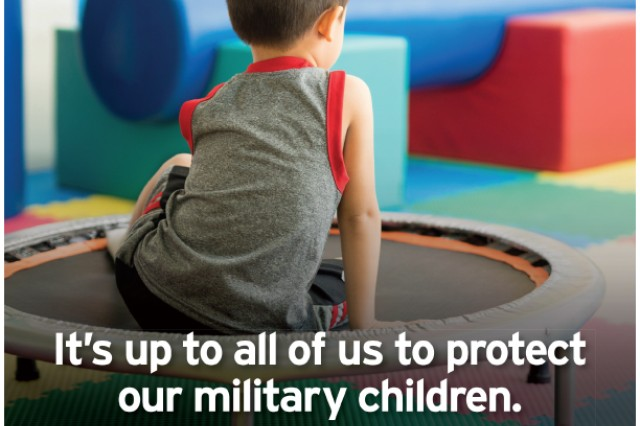 This and other posters generated by Military OneSource offer reflection on some of the difficulties and challenges military children face, and remind people to get involved if children are being neglected or abused.