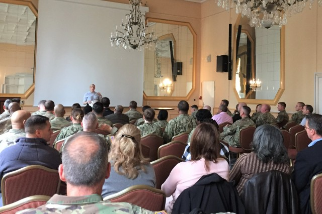 Cpt. Traci Kaiser, Behavioral Health officer of the Patch Health Clinic opens the first Senior Leader Symposium focused on Behavioral Health and Suicide Prevention, April 17,2019 at the Swabian Special Events Center, Patch Barracks, Stuttgart, Germany. Photo by Holly DeCarlo-White