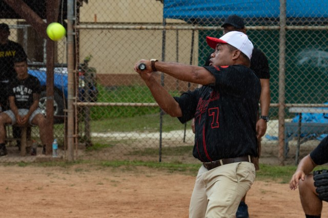 Vice President and Minister of Justice of Palau Raynold B. Oilouch, hits a softball at the Meyuns Softball Field in Koror, Palau, in a softball game played with U.S. Soldiers serving with 5th Battalion, 20th Infantry Regiment, 1-2 Stryker Brigade Combat Team, 7th Infantry Division, following the closing ceremony of Exercise Palau April 19, 2019. Exercise Palau is part of Pacific Pathways, an annual U.S. Army Pacific (USARPAC) operation, demonstrating the U.S. Army's commitment to the Palau nation, security cooperation for a free and open Indo-Pacific.