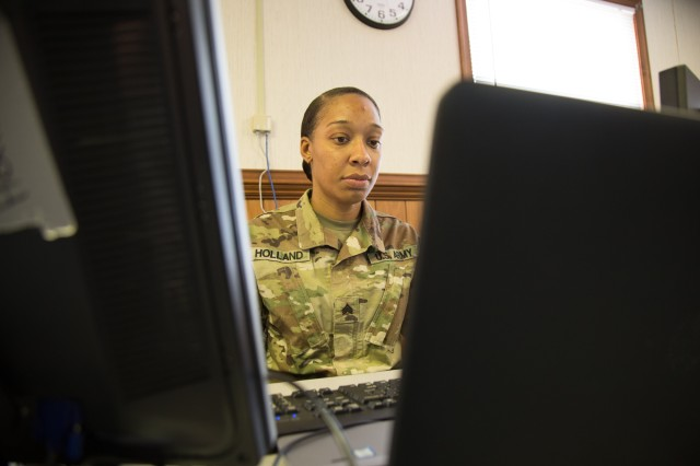 "Sgt. Shanna Holland, Human Resources Noncommissioned Officer, VAARNG practices with the Integrated Personnel and Pay System -- Army during a senior leader engagement at Fort Pickett, Virginia, April 8-12. Holland is encouraged for the future of the Army since IPPS-A is more accessible for all Soldiers than the previous systems Human Resources Soldiers used.""You can see all aspects of the Soldier from the highest level of education they've attained to what certifications they have,"" said Sgt. Holland. ""The transparency in the system is what will make the Army stronger. You can see a Soldier's entire skill set."""