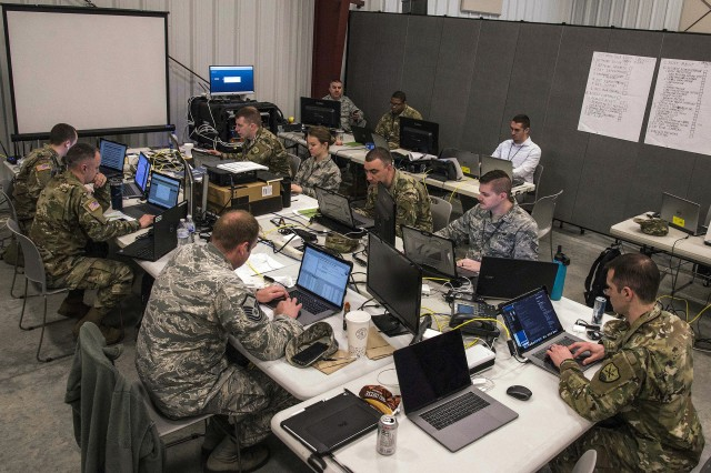 The Ohio National Guard Cyber Mission Assurance Team (CMAT) conducts network assessments during exercise week of Cyber Shield 19, at Camp Atterbury, Ind., April 16, 2019. The Cyber Mission Assurance teams are being stood up by the National Guard to help secure the critical infrastructure that services Department of Defense installations.