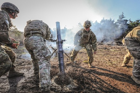 Paratroopers fire a M120A1 mortar system during Exercise Eagle Sokol 19, at Pocek Training Area, Slovenia, March 26, 2019. Exercise Eagle Sokol is a bilateral training exercise with the Slovenian Armed Forces focused on the rapid deployment and assembly of forces and team cohesion with weapon systems tactics and procedures.