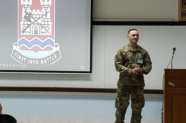 Maj. Mike Boitano, executive officer, 898th Brigade Engineer Battalion briefs the group at the Royal Thai Army Engineer School in Ratchaburi, the Kingdom of Thailand on March 21, 2019.