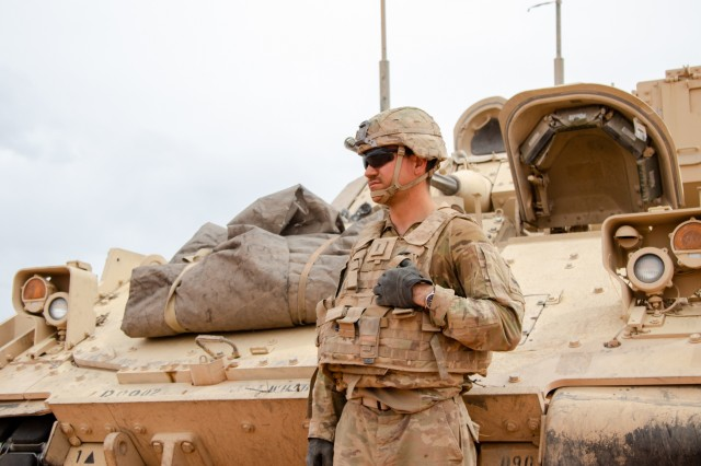 1st Lt. Aidan Dillon, a fire support officer with 1st Squadron, 1st Cavalry Regiment, 2nd Armored Brigade Combat Team, 1st Armored Division prepares to brief his team during exercise Strike Focus, at Orogrande Range Camp, N.M., April 12, 2019.