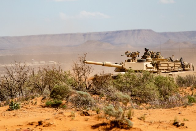 An M1 Abrams battle tank belonging to 2nd Brigade Combat Team, 1st Armored Division, participates in a training assault during exercise Strike Focus, at Orogrande Range Camp, N.M., April 5, 2019.