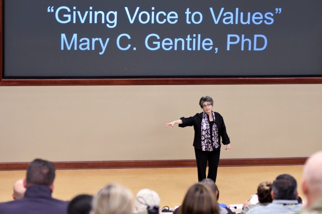 "Dr. Mary C. Gentile talks about ""Giving Voice to Values"" during the Sexual Harassment/Assault Response and Prevention Academy Professional Forum April 18, 2019 in the Lewis and Clark Center's Marshall Auditorium, Fort Leavenworth, Kan. Gentile is the creator/director of Giving Voice to Values, Professor of Practice at University of Virginia Darden School of Business and Senior Advisor at Aspen Institute Business and Society Program. The quarterly forums are organized by the SHARP Academy and are open to the community. Photo by Tisha Swart-Entwistle, Combined Arms Center Public Affairs Office."