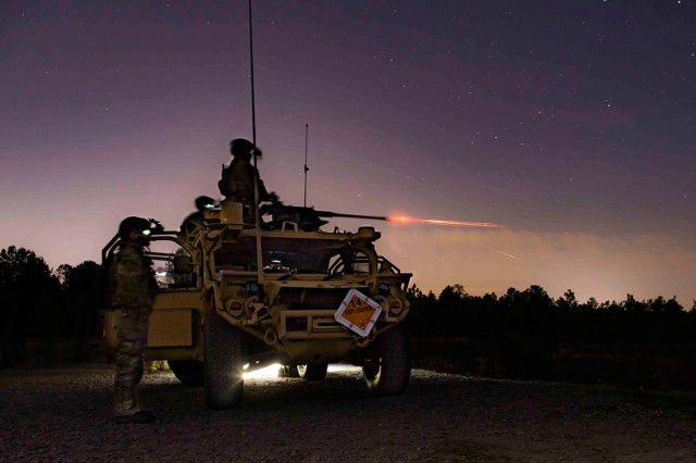 Green Berets assigned to 3rd Special Forces Group (Airborne) fire the M2 .50 caliber machine gun, April 2, 2019, at Fort Bragg, N.C. The Green Berets fired multiple weapon systems during the live fire range to include the M240B machine gun, M320 grenade launcher and the M249 Squad Automatic Weapon.