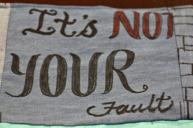 "Soldiers of 2nd Brigade Combat Team, 10th Mountain Division, designed denim squares for a Denim Day ""inspiration quilt"" to commemorate Denim Day during Sexual Assault Awareness and Prevention Month, April 24, 2019, at Fort Drum, New York. Josiphina Nelson, a volunteer, sewed the the quilt for the 2BCT the brigade's Sexual Harassment/Assault Response and Prevention team. Each denim square features supportive messages and words of encouragement for survivors of sexual violence. (U.S. Army photo by Staff Sgt. Paige Behringer)"