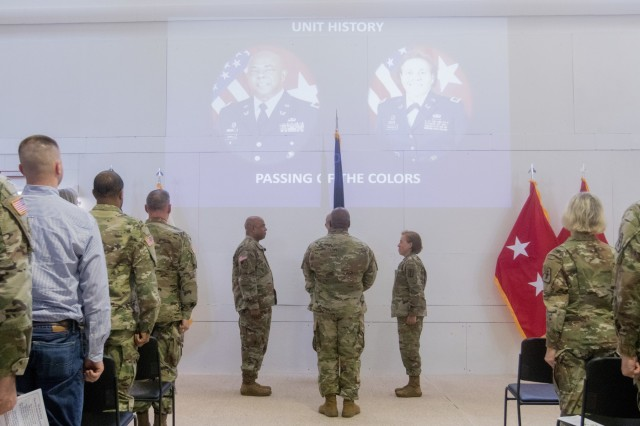 The passing of the colors is conducted during a U.S. Army Reserve Legal Command change of command ceremony April 24, Gaithersburg, MD. (U.S. Army Reserve photo by Maj. Jeku Arce, U.S. Army Reserve Legal Command)