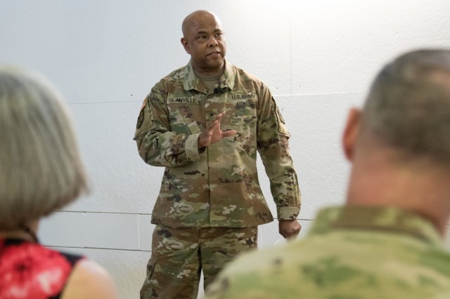 Brig. Gen. Ural Glanville gives remarks during the U.S. Army Reserve Legal Command change of command ceremony April 24, Gaithersburg, MD. (U.S. Army Reserve photo by Maj. Jeku Arce, U.S. Army Reserve Legal Command)