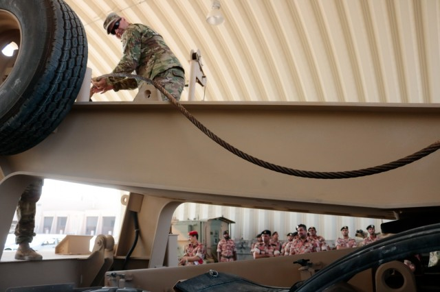 U.S. Army Staff Sgt. Andrew Jones feeds a winch cable while demonstrating to Royal Army of Oman Soldiers how to correct a malfunction during the Heavy Equipment Transporter System Subject Matter Exchange II held at Sultan bin Safy Camp Shafa Oman, April 6-11, 2019. (U.S. Army photo by Sgt. Nahjier Williams)